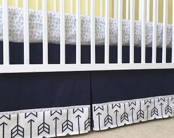 "17"" Organic Navy Arrow CRIB BED SKIRT - Organic Navy Arrow Pleated Crib Skirt - Navy Arrow Crib Dust Ruffle - Made-To-Order"