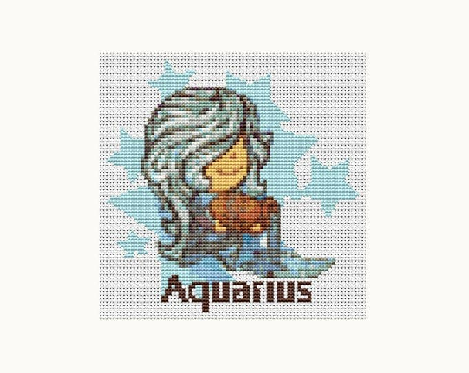 Cross Stitch Pattern PDF, Embroidery Chart, Zodiac Cross Stitch, Astrology, Horoscope, Zodiac Series: Aquarius (TAS086)