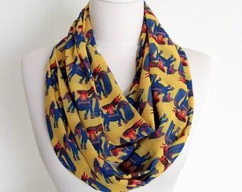 Mustard Ethnic Animals Infinity scarf, Circle scarf, Loop scarf, Wide Scarf, Shawls, spring - fall - winter - summer fashion