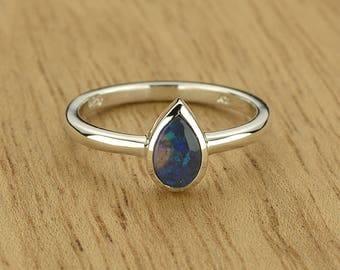 0.27ct Semi-Black Opal Ring in 925 Sterling Silver Size 4.5 SKU: 1979B010-925