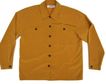 Mustard Yellow SIlky Button Down
