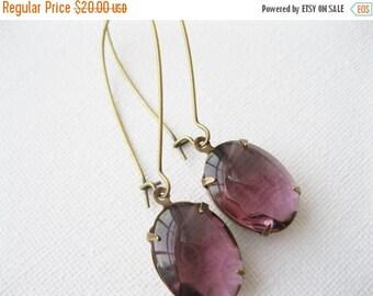SALE Amethyst Dangles. Purple Glass Earrings. Antiqued Brass. Long Drops. Vintage Jewels, Art Deco Style