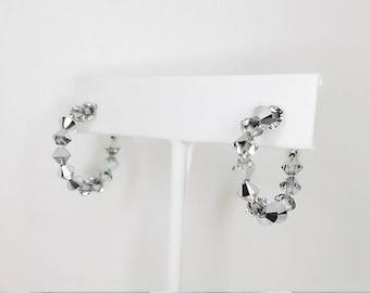 "Swarovski crystal hoops 1/2"""