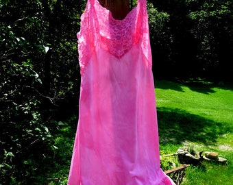 Upcycled, Full Slip, Lace, Lingerie, Women, Pink, Shabby Chic, Romantic, Art, Gift, Brides Maid, Wedding Destinations