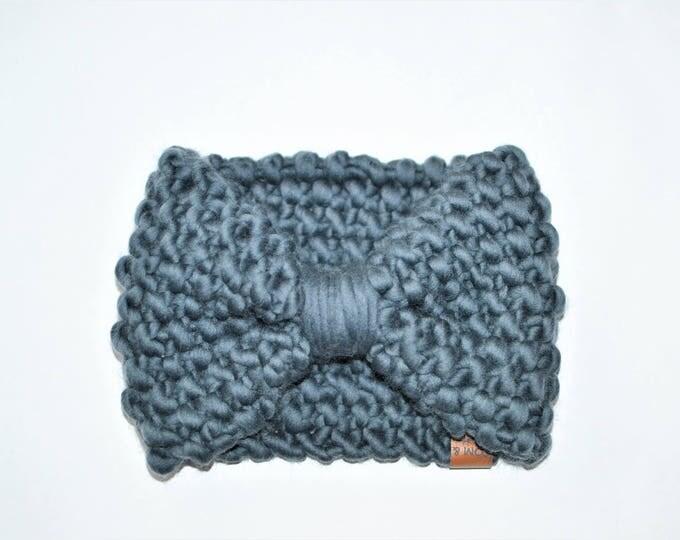 Blue Bow Headband | Knitted Baby Headband | Dusty Blue Baby Headband | Bow Headband
