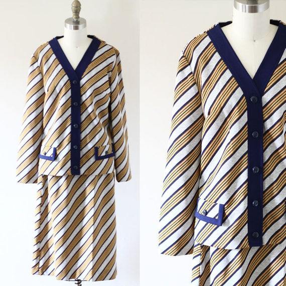 1970s diagonal dress set // 1970 mini skirt // vintage skirt set