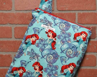 Cloth Diaper Wetbag, The Little Mermaid, Diaper Pail Liner, Diaper Bag, Day Care Size, Holds 5 Diapers, Size Medium with Handle item #M76