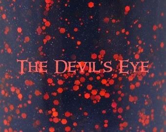 """The Devil's Eye glitter nail polish 15 mL (.5 oz) from the """"Villain of the Month"""" Collection (August)"""