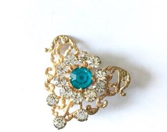 Heart Brooch - 1930s Heart Brooch - Vintage Rhinestone Heart Brooch - Aquamarine + Clear Crystal - Heart - Vintage Jewelry - Mother's Day