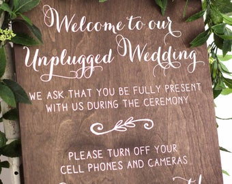 Unplugged Wedding Sign, Unplugged Ceremony Sign, No Cell Phone Sign, Unplugged Sign, Unplugged Wooden Wedding Sign, No Cameras Sign - WS-80
