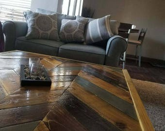 Chevron Table, Coffee Table, Rustic Coffee Table, Reclaimed Wood Coffee  Table, Livingroom