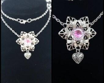 Silver Snowflake Necklaces 2 Designs