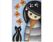 Maneki Neko Cat Art Card, Japanese Kokeshi Doll and Black Cat ATC, Artist Trading Card, Original ACEO, Cat and Butterfly Miniature Art Card