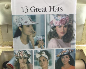 Butterick 5948 - Summer Hats Pattern - 13 Great Hats (but actually 5 styles) - Misses' Hat Sizes S, M, L - factory folded, uncut