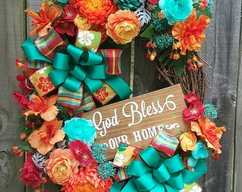 Tropical wreath, Summer wreath, Summer wreaths, Floral Grapevine wreath, Summer Grapevine wreath, Tropical Grapevine wreath, Tropical decor