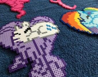 My Little Pony Heart Perler / Hama Bead Figure Wall Art Rainbow Dash Rarity Pinkie Pie Fluttershy