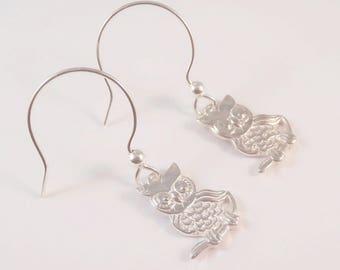 Owl, Sterling Silver Owl Earrings, Owl Earrings, Bird Earrings, Tree Earrings, Forest Earrings, Animal Earrings,