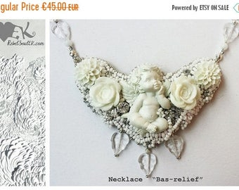 ON SALE Beaded necklace, angel necklace, floral necklace, wedding jewelry, bride necklace, white necklace, love gifts, bohemian jewelry, reb