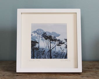 Framed print of Cornish Trees, Cornwall pine trees, from original watercolour, framed prints, purple trees, tree silhouette, graphic trees