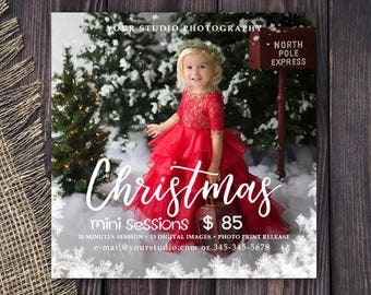 Christmas Mini Session Template - Holiday Photography Marketing Board - Christmas Minis - Photoshop Template 037, Instant Download
