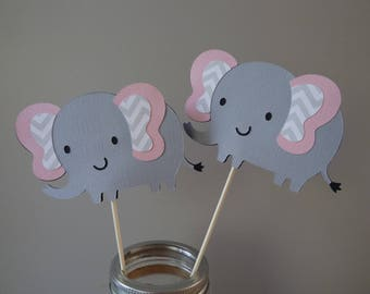 Set of 10 Pink and Gray Chevron Elephant Centerpieces