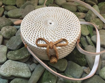 15Cm Handmade Rattan| Lace Ata Grass Round bag; Bali bags; Crossbody;  Boho bag; Hippie Bags; Made from Bali, Indonesia