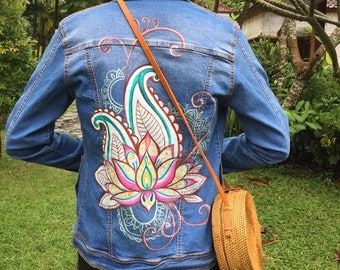 Lotus Hand Painted Denim Jackets,, Acrylic Denim Jacket, Handmade Denim Jacket, Jacket with art work
