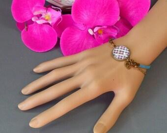 Fancy bracelet * MOZAIC 2 * Cabochon 16 mm * blue and purple pattern.
