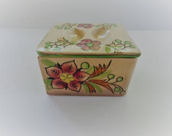 Jewelry Box Vintage Ceramic with cover Handpainted Decorative 1940's Flower Design Box Home Decor Accent