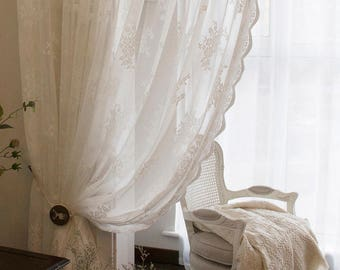 Shabby Chic Fairy Tale Vintage Rose Pattern White Lace Sheer Curtain Drape Drapery