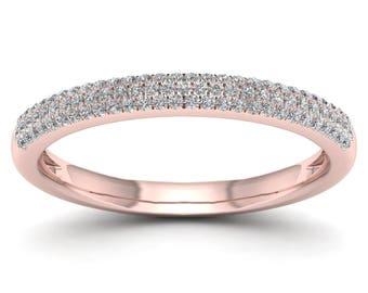 10Kt Rose Gold 0.25 Ct Diamond Wedding Band