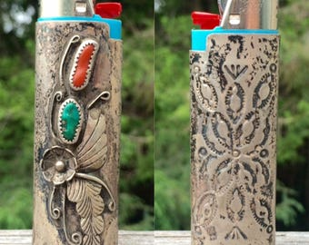 vintage Native American sterling silver turquoise coral southwestern lighter jacket case cover