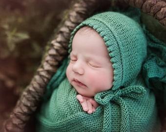 Woven bonnet, knit newborn hat, newborn photo prop