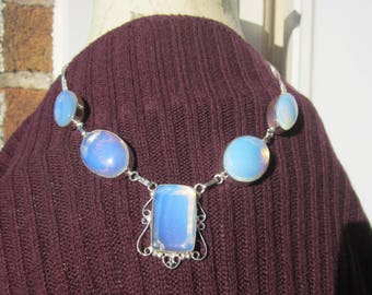 My Impressive Opalite Moonstone glass cabochon link Necklace Silver P. stamped 925.