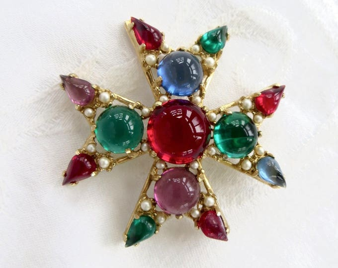 Vintage Maltese Cross Brooch, Malta Cross Pin, Maltese Cross Pendant, Gripoix Heraldic Jewelry