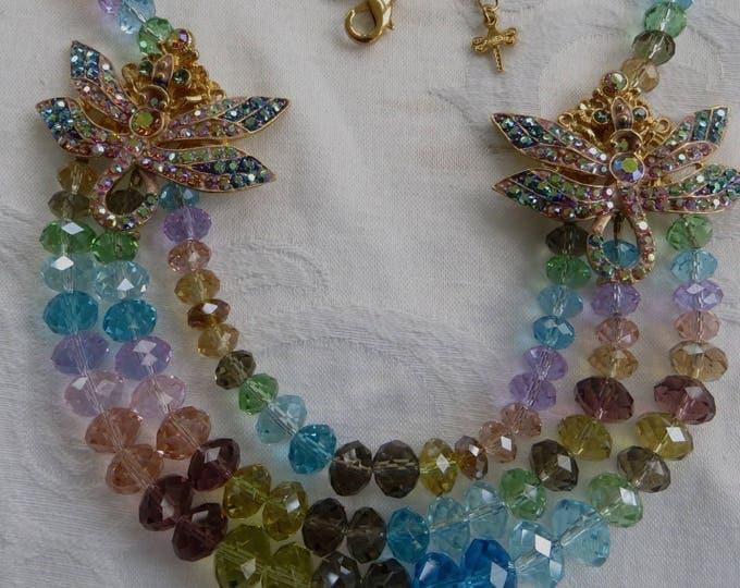 KIRKS FOLLY Necklace, Dragonfly Necklace, Dream of the Dragonfly, Rainbow Bead Necklace, Dragonfly Jewelry, Vintage Kirks Folly Jewelry
