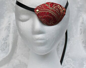 Red Eye Patch, Red and Gold Paisley Satin Brocade Pirate Eye Patch