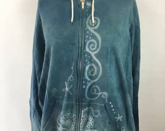 XLARGE Organic Cotton Hoodie - hand dyed - bleach painted - Crescent moon and stars design