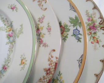 Vintage Mismatched China Dinner Plates - Set of 4