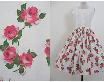"1950s Skirt 50s Full Skirt White Pink Rose Print Skirt Cotton Brushwork Floral Skirt 29"" Waist S / M"