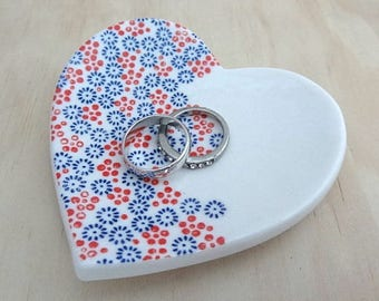 Blue and red floral ceramic ring dish. Floral ring bowl jewellery holder. Engagement or wedding gift.