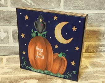 Hand Painted And Mixed Media Pumpkin Canvas..Pumpkins and Crow..Fall Art..Fall Decor..Autumn Art..Autumn Decor..Thanksgiving Art..Happy Fall