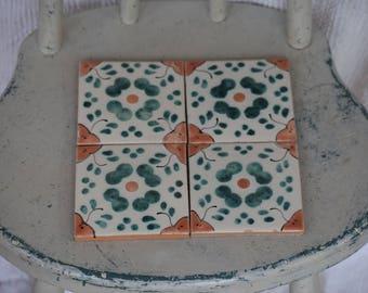 Vintage Glazed Terra Cotta / Made in Mexico Tiles / Set of Four / 4 Tiles