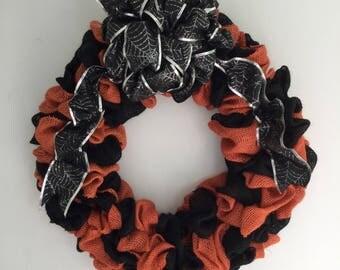 Halloween Wreath, Black and Orange Wreath, Muslin Wreath, Halloween Decor, Spider Web Wreath, Halloween Party