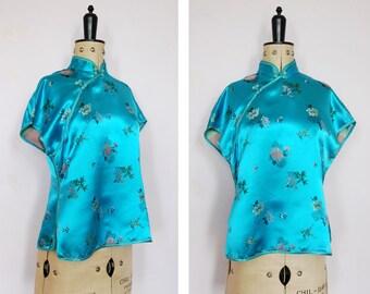 Vintage 1950s 1960s Cheongsam blue silk satin top - Cheongsam top - Vintage Chinese top - Chinese top - Asian top - Oriental top - Cheongsam