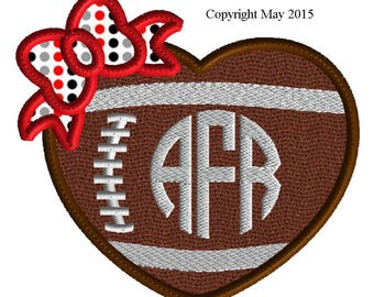 Embroidery Design, football heart applique with bow, 7 sizes, team sports, high school sports, college sports, no fonts with design