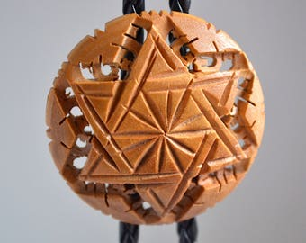 Wooden Hand-Carved Bolo Tie Necklace