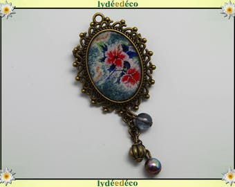 Brooch Hibiscus charm retro vintage Blue Pink White Pearl resin