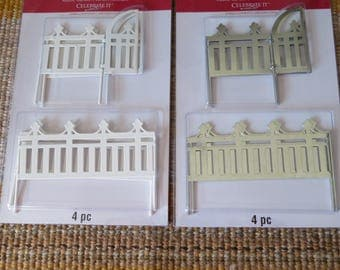 metal mini fence panels with swinging gate,craft piece,1.75 inch tall x 14 inch long,doll house,model building,dioramas,RR layouts