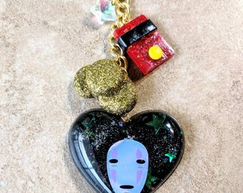 No Face keychain - purse charm - zipper pull